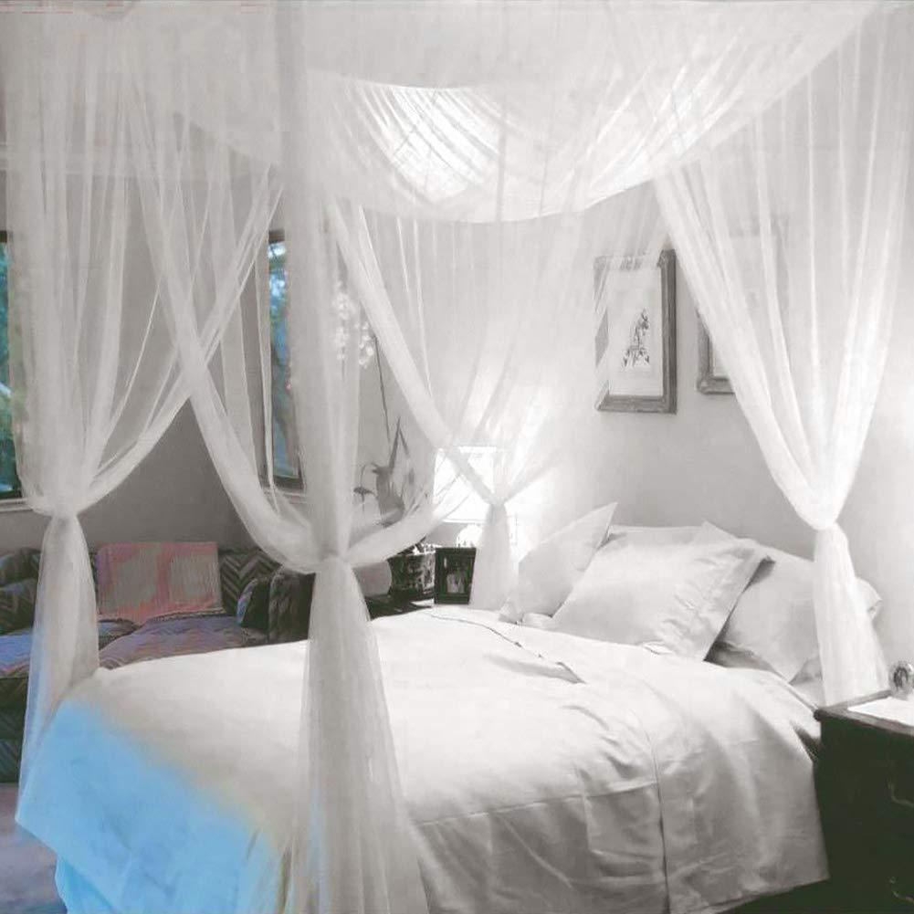 LNIMIKIY Mosquitera de poli/éster para decoraci/ón del hogar King Resistente al Polvo Tama/ño Libre 4 Esquinas tama/ño Queen Show Color Blanco para Cama de Matrimonio