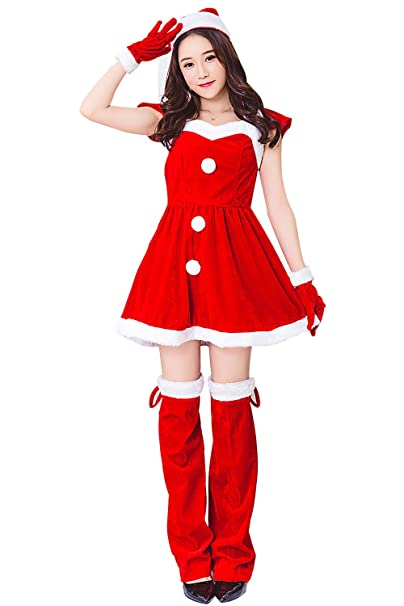 Immagini Donne Babbo Natale.Kenmont Donne Babbo Natale Costume Cosplay Bodycon Rosso