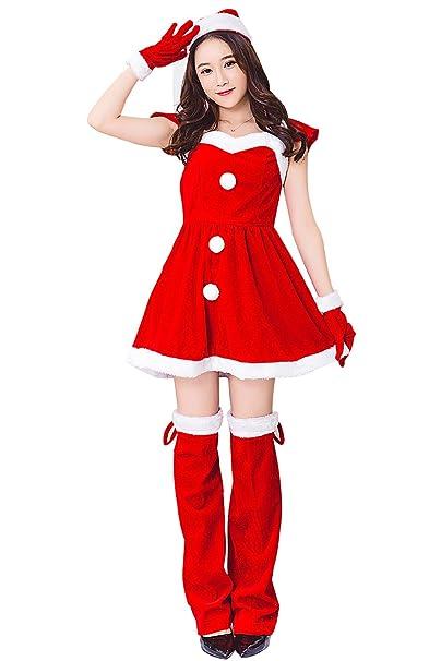 Kenmont Mujer Papá Noel Cosplay Disfraz Bodycon Rojo Mini Vestidos Navidad Encapuchado Chicas Sexy Fiesta Club