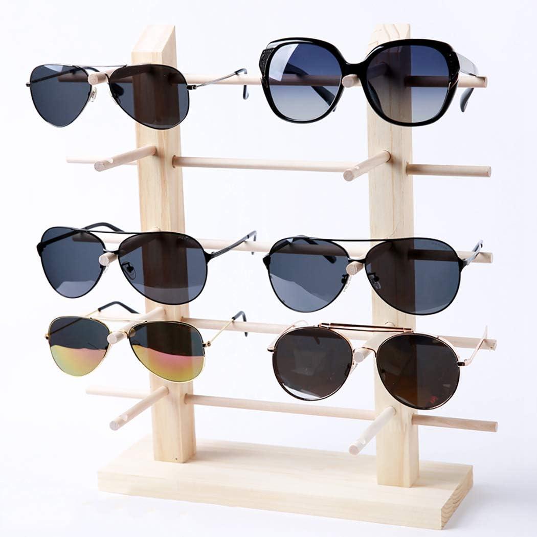 JUSTDOLIFE Soporte de Exhibici/ón de Vidrios Gafas de Sol Decorativas de Madera Creativas Soporte de Gafas de Rack
