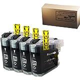 【横トナ オリジナル品】 LC211BK ICチップ付き ブラック 4本セット ブラザー 用 互換インクカートリッジ JAN:4580445285805
