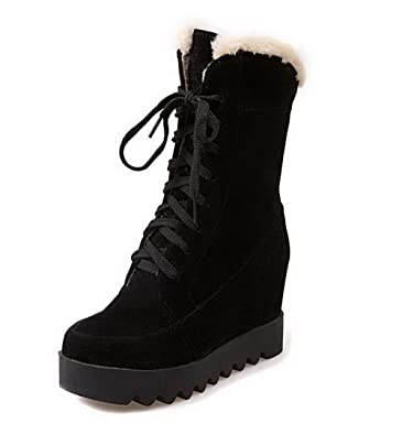 Women's Lace-up Round Closed Toe High-Heels Imitated?Suede High-top Boots