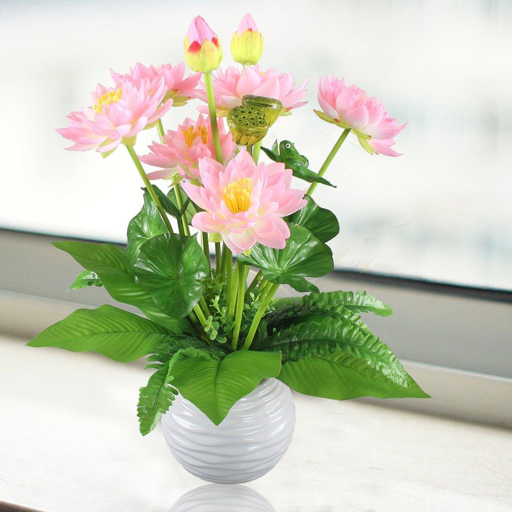Amazon Hogado Artificial Flowers Peach Silk Lotus Bouquet