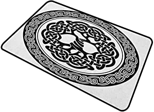 shirlyhome Doormat Outdoor Celtic Home Plate Doormat Native Celtic Tree of Life Figure Ireland Early Renaissance Artsy Modern Design 24