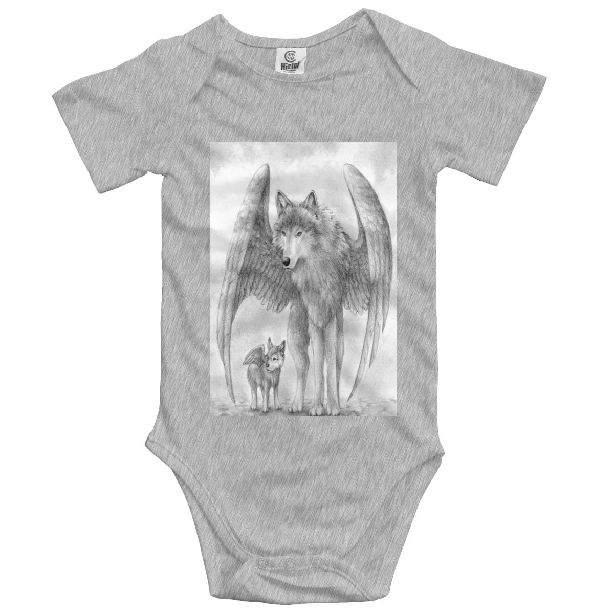 Hand Drawn Cute Angel Wolf Boys /& Girls Black Short Sleeve Romper Climbing Clothes for 0-24 Months