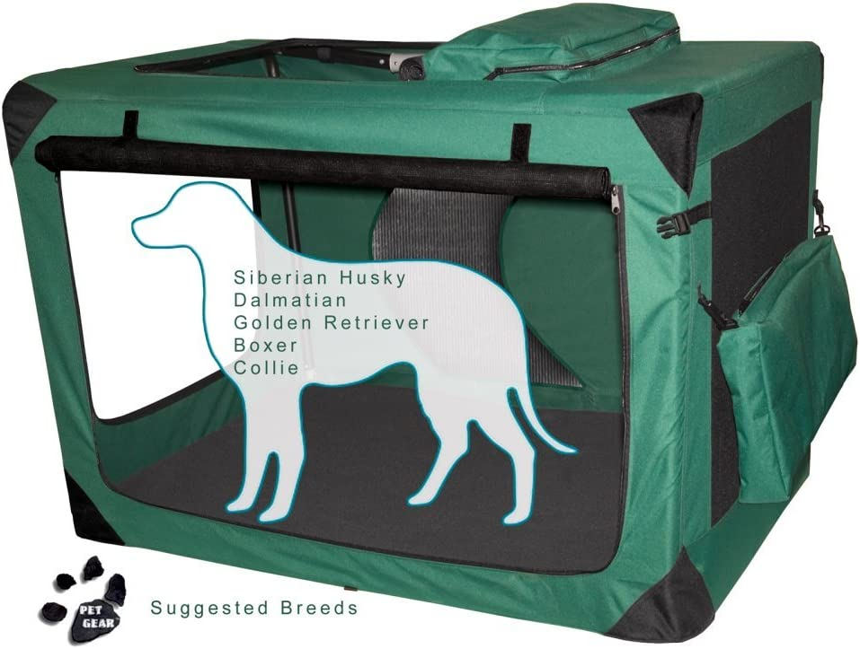 Generation II Deluxe Portable Soft Dog Crate in Moss Green – Extra Large