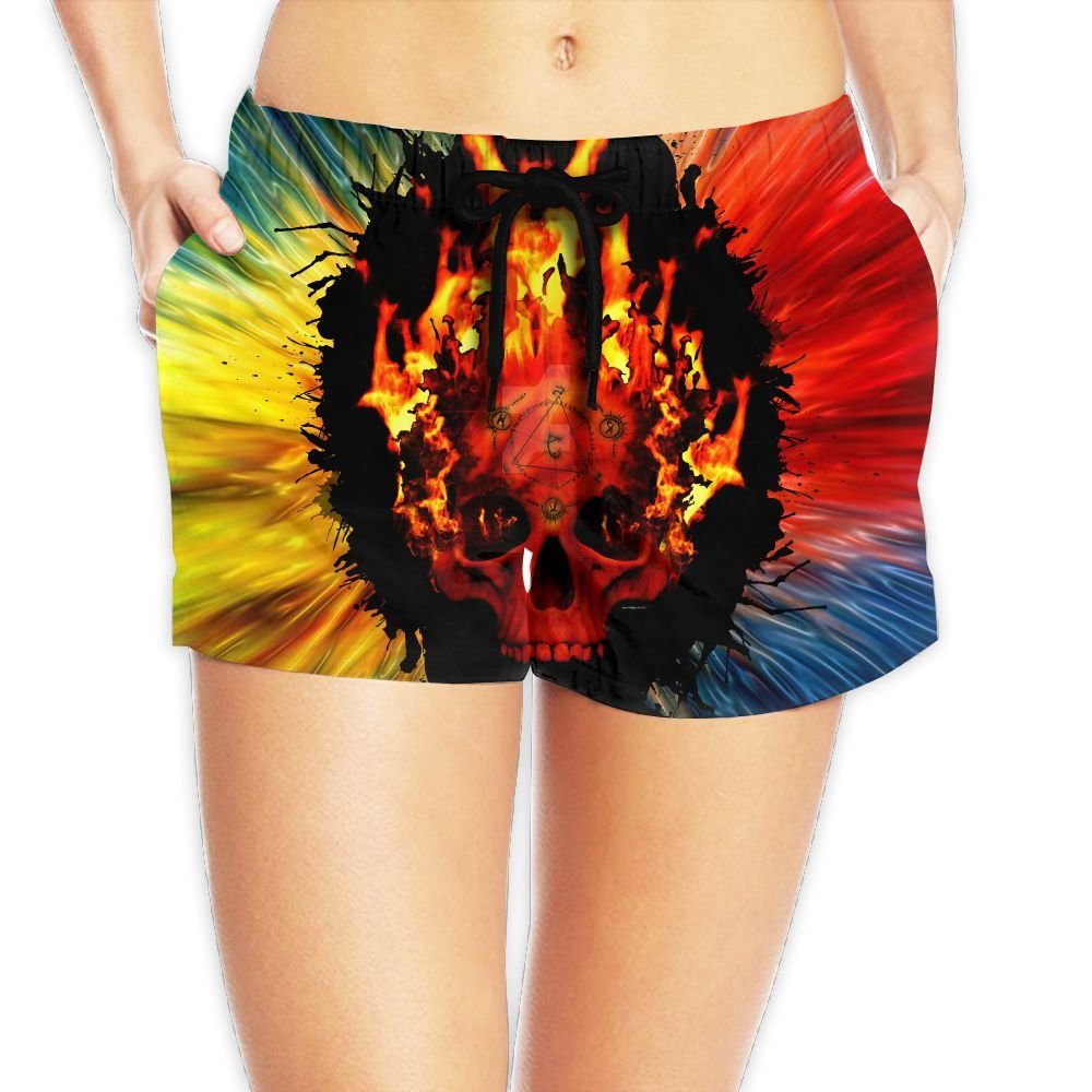 Burning Mathematics Skull Women's Fashion Surfing Boardshort Beach Shorts M by Dilling
