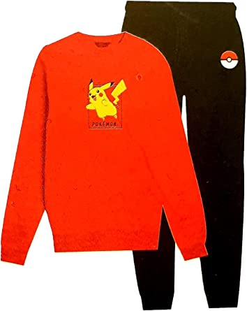 Pokemon Pikachu - Pijama para Hombre Rojo Amarillo Negro L ...