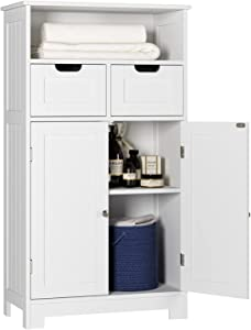 HOMECHO Bathroom Floor Cabinet, Large Bathroom Storage Cabinet with Doors and Shelves, 2 Adjustable Drawers, Wood Freestanding Cupboard for Living Room, Entryway, Kitchen, Ivory White