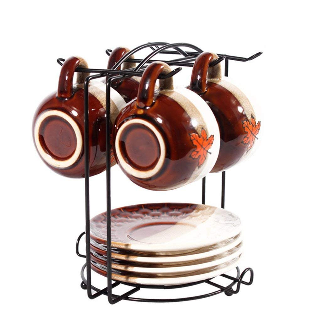 6 Hooks Mugs Tree Cup Rack Dishes Organizer Coffee Cup Rack Stand, Metal Coffee Cup Holder Rack DOSHOP