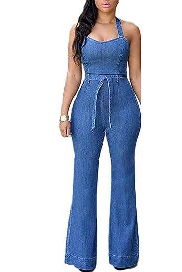 c3eeaeacb6 Amazon.com  Zilcremo Women Elegant Halter Backless Slim Denim Full Length  Jumpsuits Overall  Clothing
