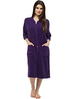 ecf4a25bc6 Towelling Bathrobes 100% Cotton Dressing Gown for Women Button Through or  Zip Up Towel Bath Robe…