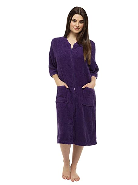 1a309191e03 Towelling Bathrobes 100% Cotton Dressing Gown for Women Button Through or  Zip Up Towel Bath Robe for Ladies - Great Zip Towel Bathrobe  Amazon.co.uk   ...