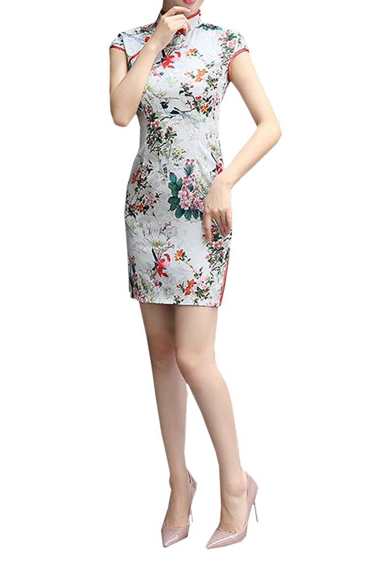 XueXian(TM) Womens Mini QiPao Summer Ladies Prom Cotton Dresses Short 2 Colors (China L:Bust 34.65'' Waist 28.35'',flower 2) by XueXian(TM) (Image #1)