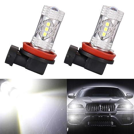 Bombillas de luz antiniebla LED, Mesllin H8 H9 H11 Super Brillante 6000K Xenón Blanco Lámpara