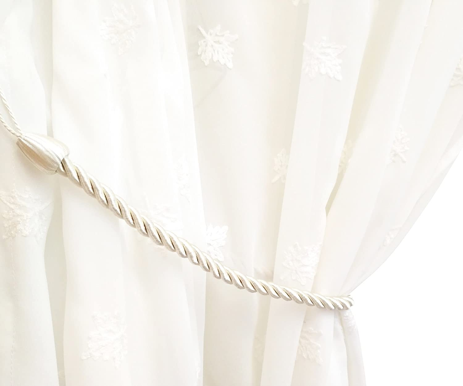 Chictie 2 Pieces Beige White Curtain Rope Cord Country Style Satin Hand Knitting Cotton Tie Backs Drapery Holdbacks Indoor Outdoor Home Window Decor