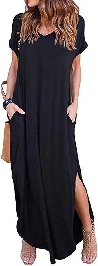 KIDSFORM Women Maxi Dress Floral Side Split Casual Loose Pockets Sundress Short Sleeve Summer Beach T-Shirt Dress