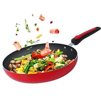 Sartenes para freír,Sartenes antiadherentes de la Parrilla Sartenes Tortilla Utensilios de Cocina Multifuncional Antiadherente de cerámica Recubierto ...
