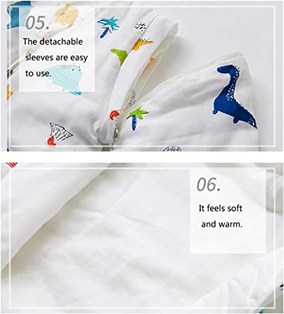 Chilsuessy Baby Sleeping Bag with Feet 2.5 Tog Winter Nursery Bedding with Removable Sleeves Sleeping Sack for Infant Boys Girls Lemon 80//Baby Height 65-75cm
