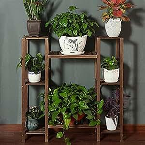 Bastidores de flores de madera maciza que aterrizan estantes de múltiples capas balcones interiores de flores del balcón de la sala de estar
