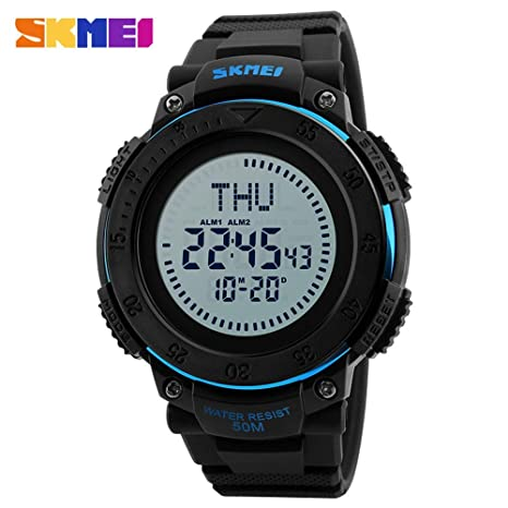 Fashion Compass Watch Reloj electrónico para Hombres Reloj de Cuenta Regresiva para horarios mundiales (Color