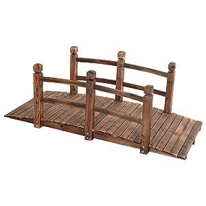 Giantex 5' Garden Bridge Wooden Stained Finish Decorative Pond Bridge Arch Backyard Walkway w/Railings, Brown