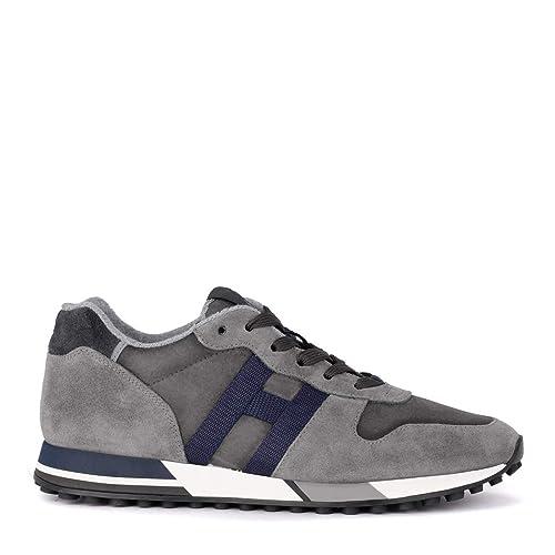 Hogan Sneaker H383 in Suede E Tessuto Tecnico Grigia E Blu b63bcdc831a