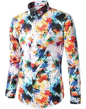 Mens Geek Design Printed Slim Fit Long Sleeve Button Down Dress Shirt Tops