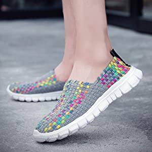 Anglewolf Women's Woven Light Weight Flat Slip On Elastic Sneaker Fitness Walker Trainer Sport Water Shoes Comfort Breathable Big Size Colors