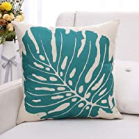 MELOODY Tropical Leaf Pillow Covers Cotton Linen Square Throw Pillow Case Home Living Room Decorative Sofa Car Cushion Pillow Cover 18 x 18 Inch
