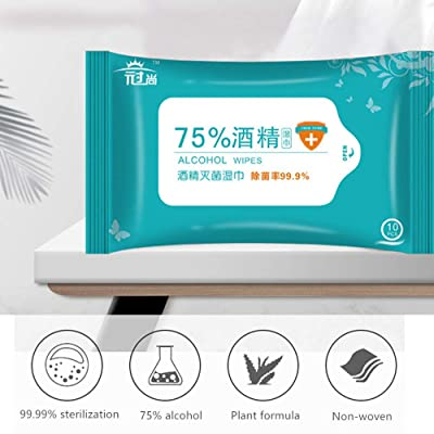 10 Wipes/Bag 75% Alcohol Wipes Hands Cleaning Wipes Wet Wipes Disinfection Protection Alcohol Wipes (2): Health & Personal Care