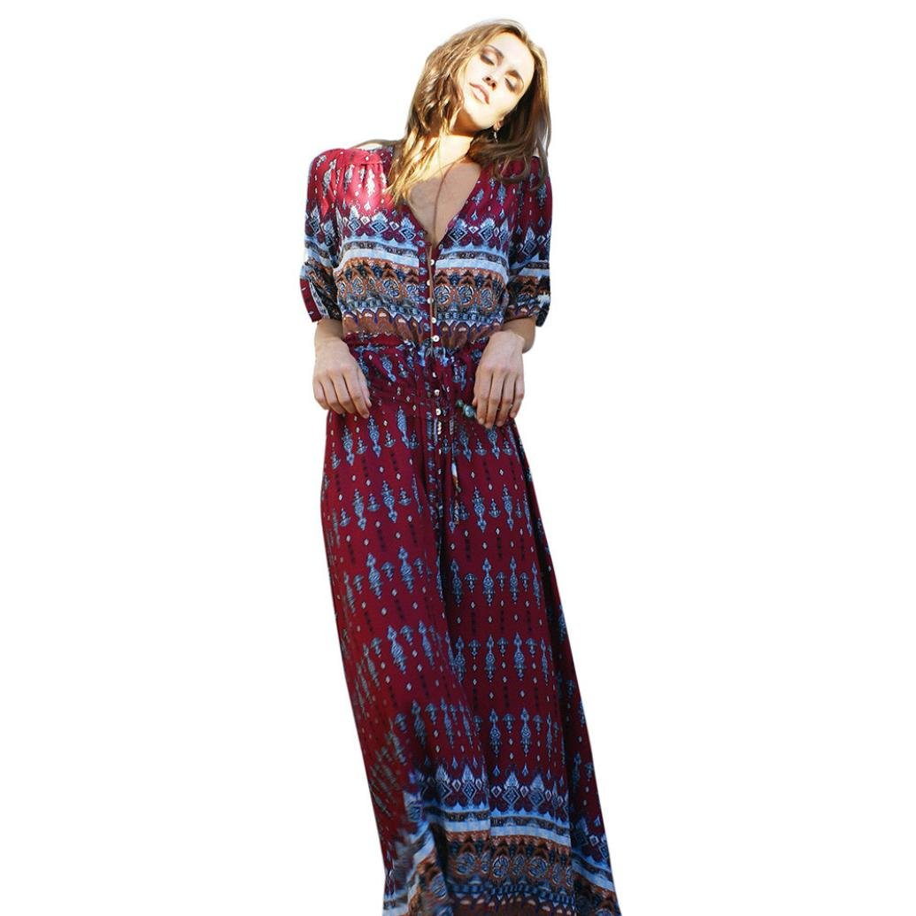 Women Long Dress Daoroka Sexy V-Neck Floral Bohemian Maxi Casual Loose Boho Half Sleeve Cocktail Beach Skirt Sundress (2XL, Wine)