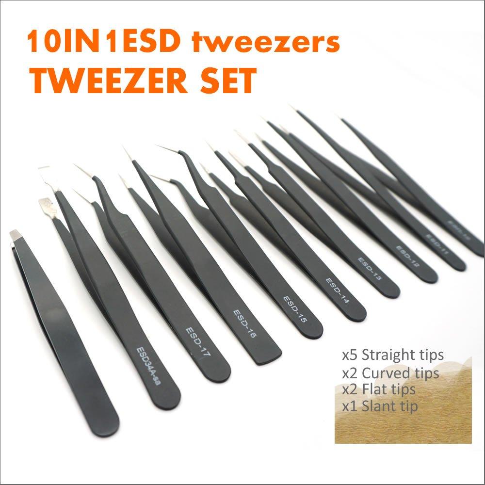 TECKMAN Precision Tweezer Set,10 Pack Best ESD Tweezers Set Stainless Steel Long Tweezers with Curved,Pointed,Slanted Tips for Eyebrow,Eyelash Extension,Craft, Jewelry, Soldering & Laboratory Work
