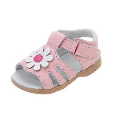 ebb79bfb6314b3 Amazon.com  YIBLBOX Girls Toddler Little Kid Genuine Leather Flower Design Soft  Open Toe Princess Dress Flat Shoes Summer Sandals  Clothing