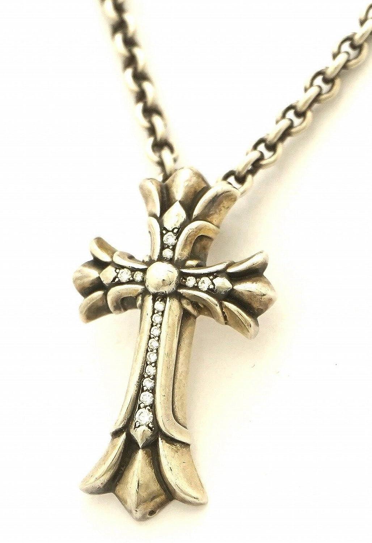 [クロム ハーツ] CHROME HEARTS クロムハーツ ダブルCHクロスチャーム スモール パヴェダイヤモンド ダイヤ ネックレス シルバー SV925 B0778XYMBB