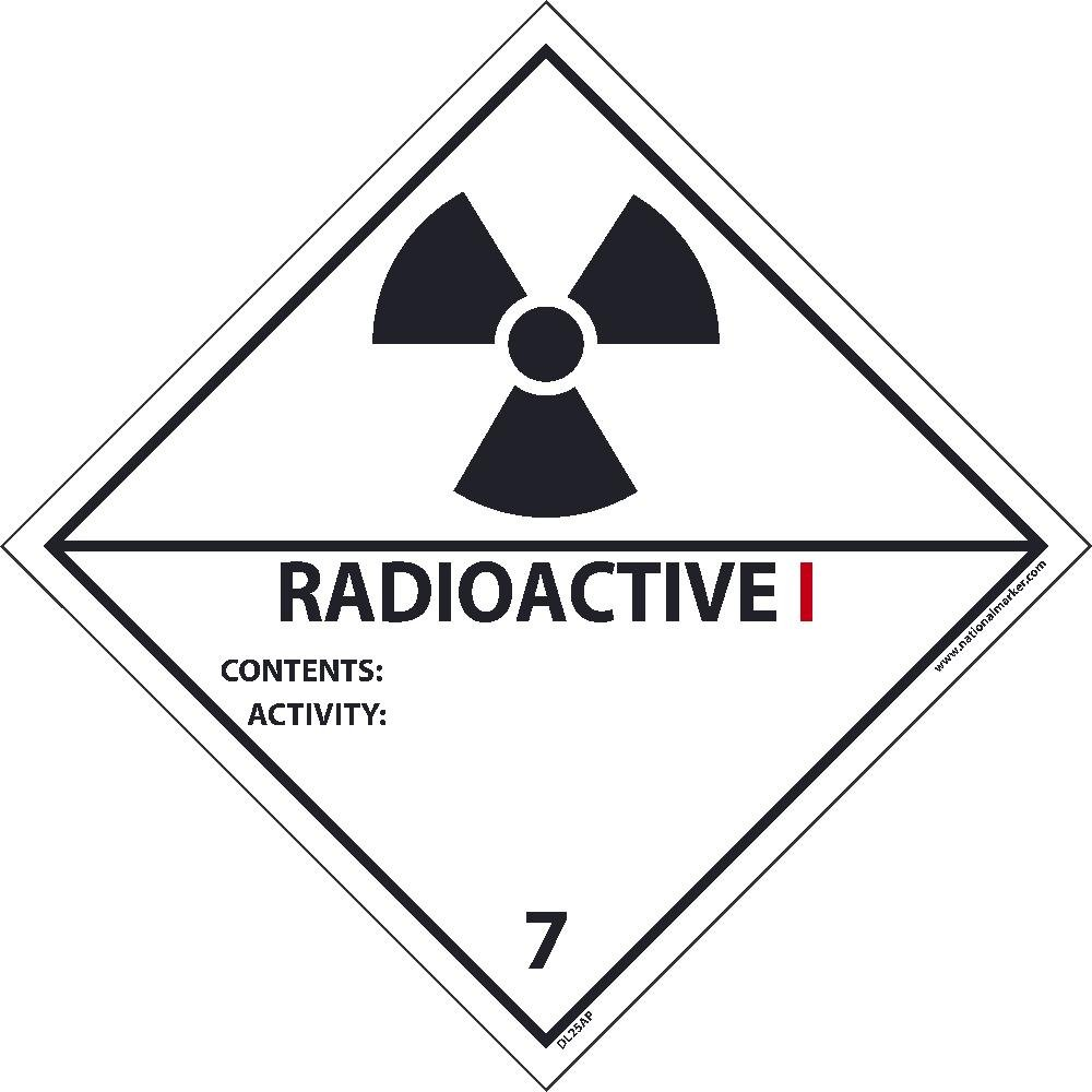 DL25ALV National Marker Dot Shipping Label, Radioactive 1, 7, 4 Inches x 4 Inches, Ps Vinyl 500/Roll