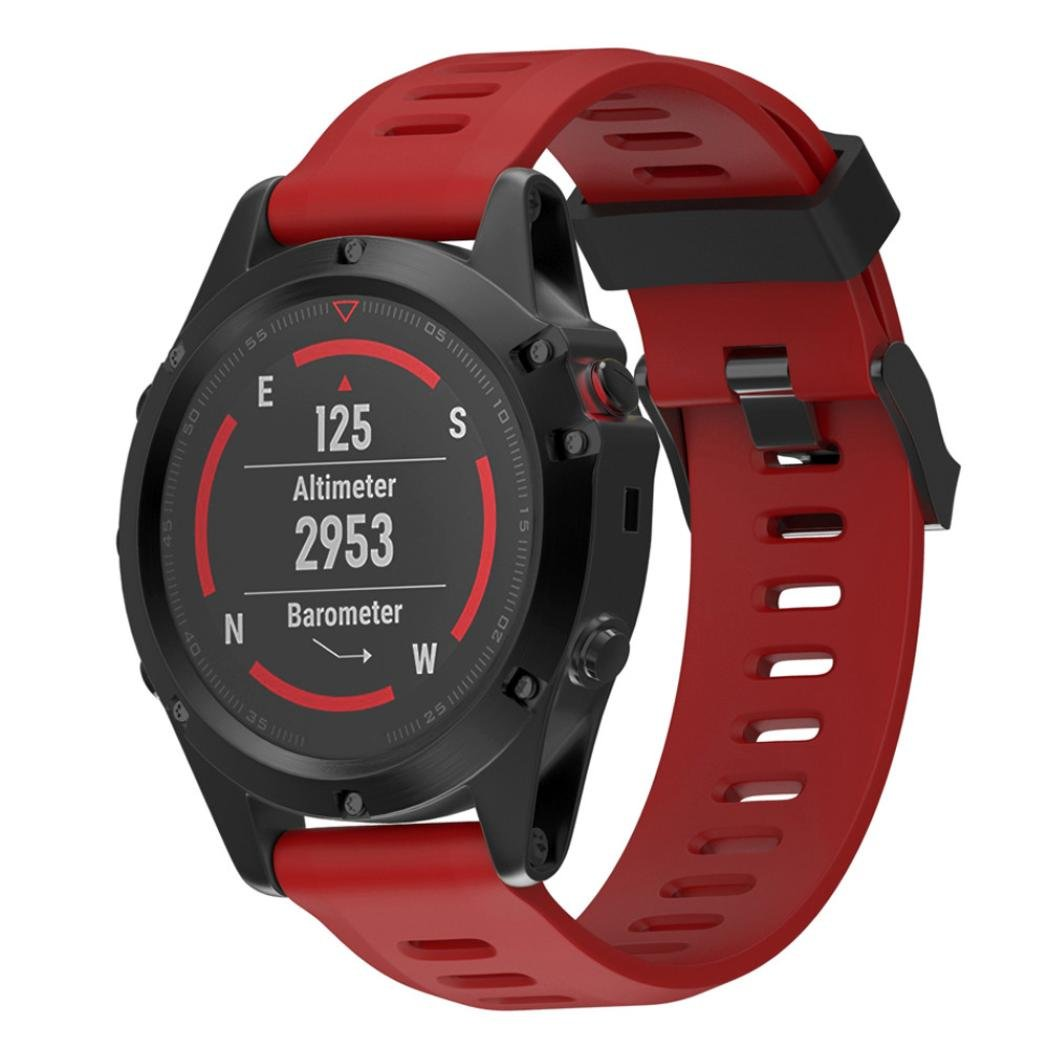 VESNIBA Replacement Silicagel Soft Band Strap For Garmin Fenix 5X GPS Watch (Red)