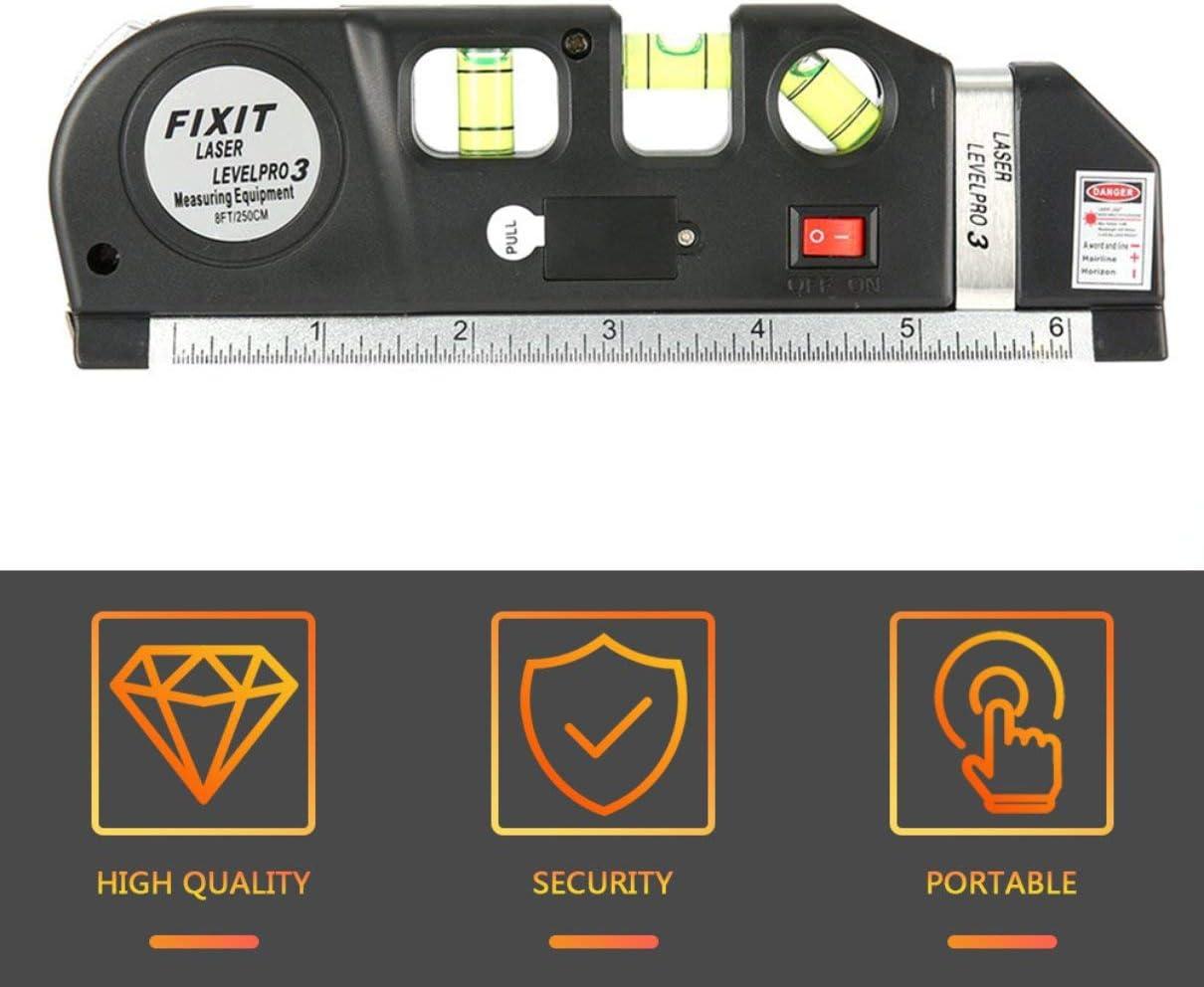 Niveau laser Horizon Mesure verticale 8FT Aligner Standard et r/ègle m/étrique Niveau de mesure polyvalent Laser Noir