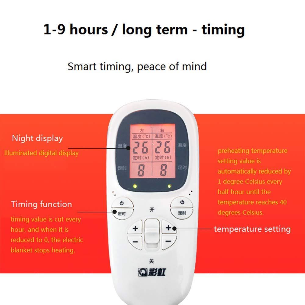 SRTLT Electric Calienta camas King, Temporizador de visualización digital Dual Temperature Dual Control Mantas eléctricas Eléctrico, Tela gruesa de algodón ...