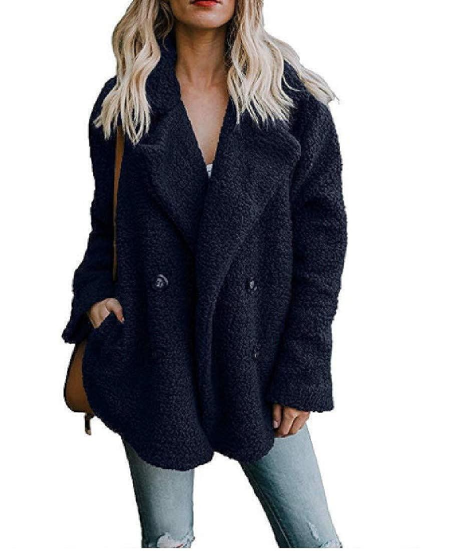 Zimaes-Women Winter Fleece Turn Down Collar Cardi Jacket Sweatshirt
