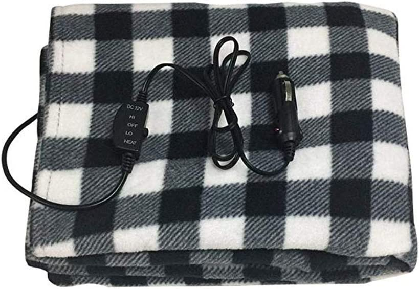 UEncounter Electric Car Blanket, 12V Lattice Fleece Car Supplies for Cold Weather