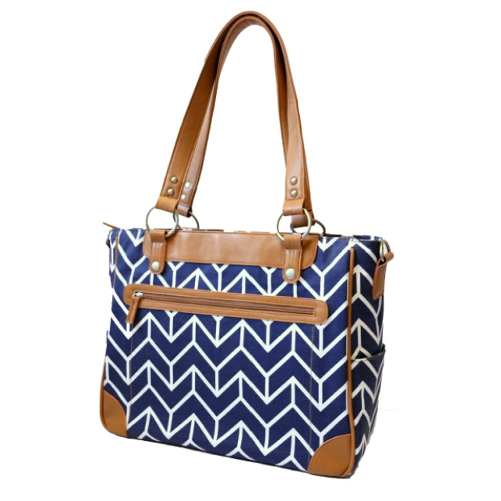 Kailo Chic Camera and Laptop Tote in Navy and Camel Arrows by Kailo Chic