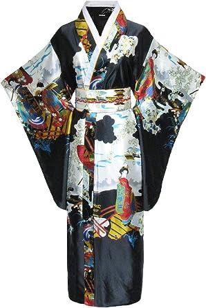 Kimono de japonesa-Disfraz para mujer, diseño de geisha negro ...