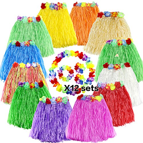 LoveS Pack of 12 Assorted Color Hula Grass Skirt with Flower Leis Costume Set, Luau Grass and Hawaiian Flower Bracelets, Headband, Necklace -