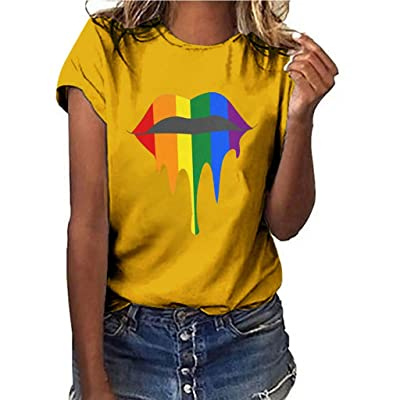 COOlCCI〓Graphic Tee Shirt for Women Teen Girls Short Sleeve Lips Print Graphic Tee Shirt Top Juniors Tees Army Green: Clothing
