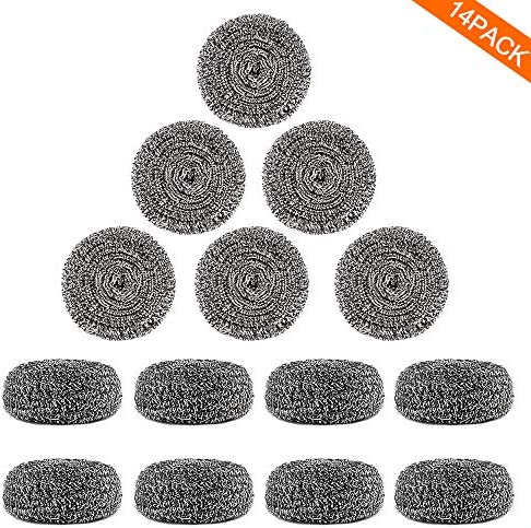 14Pack Upgraded Steel Wool Scrubbers via ovwo - Premium Stainless Steel Scrubber, Metal Scouring Pads, Steel Wool Pads, Kitchen Cleaner, Heavy Duty Cleaning Supplies - Especially for Tough Cleaning