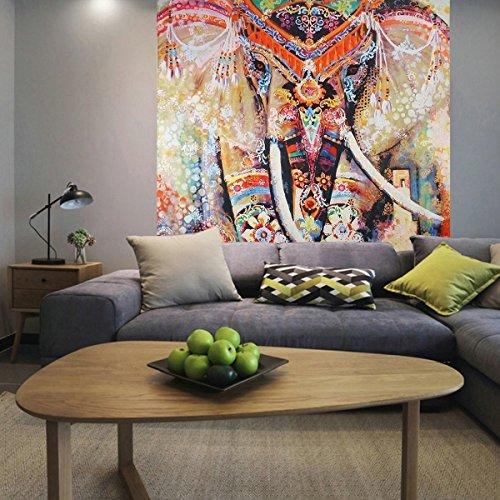 "Indian Tapestry Mandala Wall Hanging Dremisland Hippie Tapestries Bohemian Tapestry Wall Hanging Throw Bed Spread Yoga Mat Beach Mat (L:80\""X60\"", Orange Elephant)"