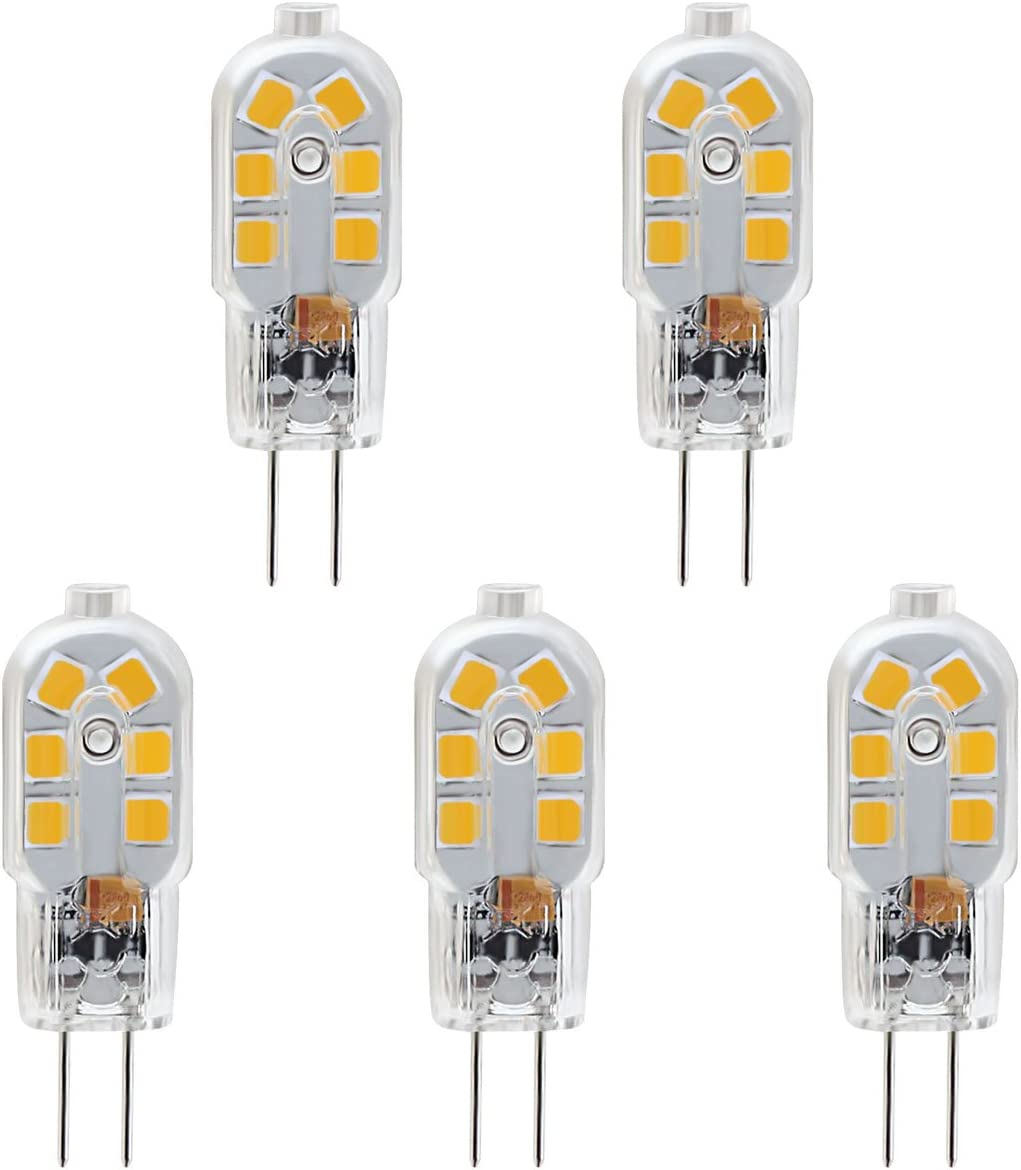 KINDEEP Casquillo G4, Bombilla cápsula LED - 1.5W / 120LM, equivalente a 20W, Blanco cálido 3000K, DC/AC 12V, no regulable, Pack de 5: Amazon.es: Iluminación
