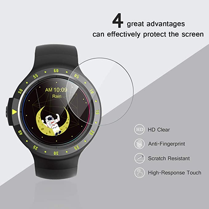 (2-Pack) AVIDET Mobvoi TicWatch S2 / E2 Screen Protector, 9H Hardness 0.3mm Ultra Slim Premium Tempered Glass Screen Protector for Mobvoi TicWatch S2 ...
