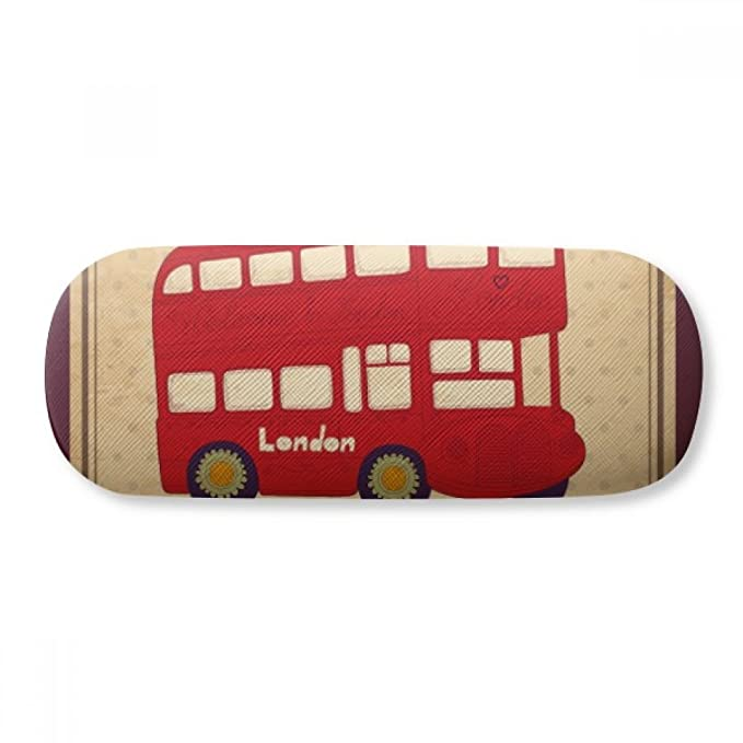 3ee81dae5b6 Image Unavailable. Image not available for. Color  UK London Double-decker  Bus Stamp Glasses Case Eyeglasses Clam Shell Holder Storage Box